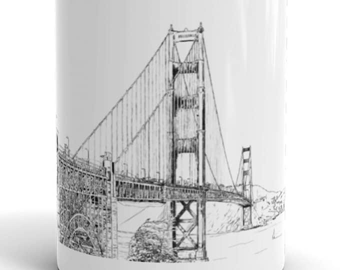 San Francisco Ink Drawing Mug | California Mug | Golden Gate Coffee Mug | San Francisco Coffee Mug | Golden Gate Bridge Coffee Mug