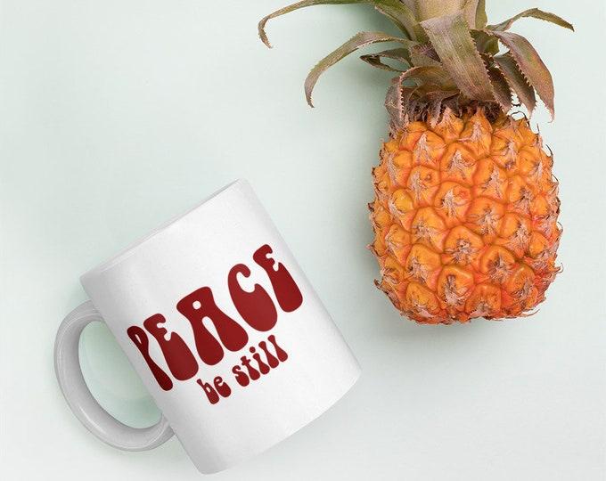 Peace Be Still Coffee Mug Positive Mug Peace Coffee Mug Christian Coffee Mug Scripture Mug Jesus Gift Retro 60s hippy psychedelic groovy