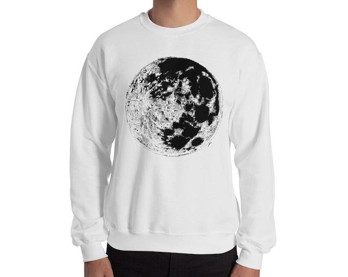 Moon Crewneck Sweatshirt | Moon Sweater | Full Moon Sweatshirt | Space Sweater | Galaxy Sweater | Science Sweater | Moon Sweatshirt