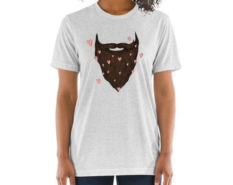 Beard Love Short Men's - Unisex sleeve t-shirt | Bearded Brown Beard Shirt Beard T-Shirt Beard Love Father's Day Shirt Beard Gift