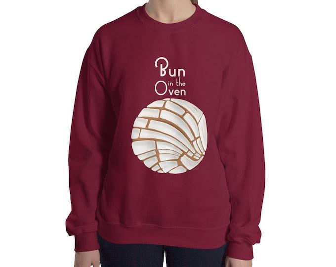 Bun in the Oven Crewneck Sweatshirt | Pan Dulce Shirt | Pregnancy Announcement Shirt | Mommy pregnancy reveal shirt pregnant shirt preggers