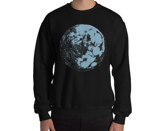 Blue Moon - Space & Science Crewneck Sweater Adult Unisex | Moon Sweater | Full Moon Sweatshirt | Space Sweater | Galaxy Sweater | Science