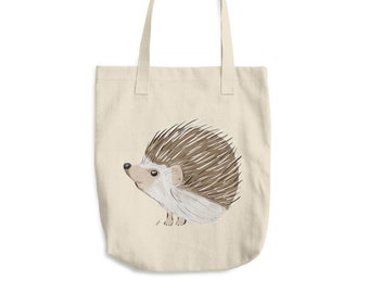 Hedgehog Cotton Tote Bag | Hedgehog Tote Bag | Animal Tote Bag | Hedgehog Gift | Birthday Gift | Hedgehog Beach Bag Grocery Bag Hedgehog Bag