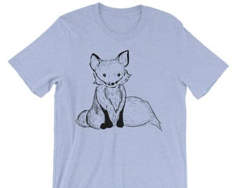 Fox Unisex short sleeve t-shirt   Fox Shirt   Woodland Animal Shirt   Fox Tail Shirt   Woodsy   Forest Fox T-Shirt Ink Drawing Shirt