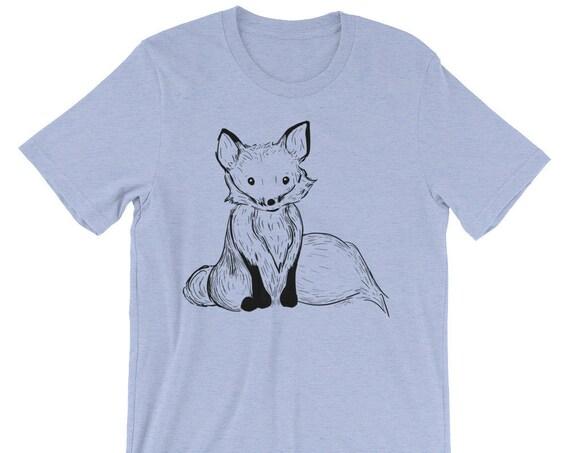 Fox Unisex short sleeve t-shirt | Fox Shirt | Woodland Animal Shirt | Fox Tail Shirt | Woodsy | Forest Fox T-Shirt Ink Drawing Shirt