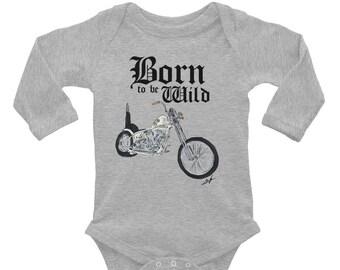 Born to be Wild Biker Infant Long Sleeve Bodysuit   Biker Baby Bodysuit   Baby Shower Gift   Motorcycle Family   Born to be Wild Baby Outfit