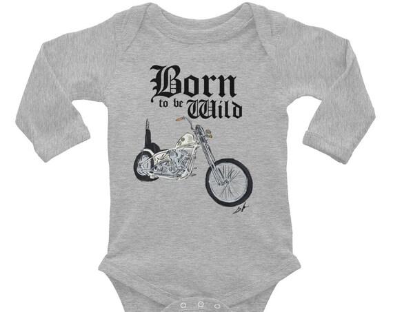 Born to be Wild Biker Infant Long Sleeve Bodysuit | Biker Baby Bodysuit | Baby Shower Gift | Motorcycle Family | Born to be Wild Baby Outfit