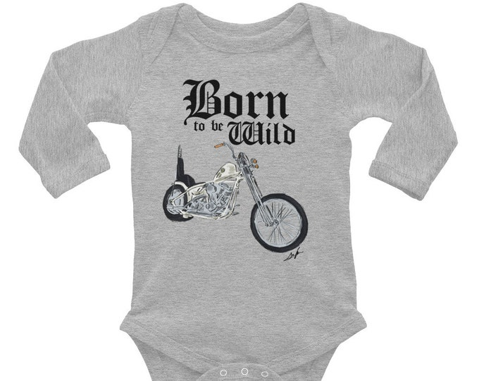 Born to be Wild Biker Infant Long Sleeve Bodysuit | Biker Baby Bodysuit | Baby Shower Gift | Motorcycle Family | Born to be Wild Baby Outfit