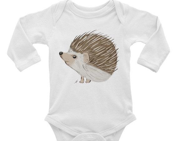 Hedgehog Infant Long Sleeve Bodysuit Hedgehog Baby Bodysuit Hedgehog Baby Woodland Nursery Woodland Theme Hedgehog Nursery Baby Shower Gift