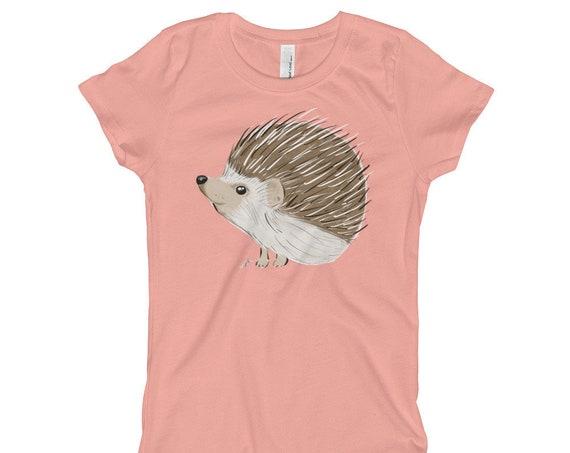 Hedgehog Girl's T-Shirt XS-XL | Hedgehog Kid's Shirt | Hedgehog Gift | Hedgehog Shirt Woodland Animal Birthday Gift Woodsy woodland creature