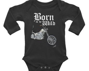 Born to be Wild Infant Long Sleeve Bodysuit   Biker Baby Bodysuit Shirt   Baby Shower Gift   Motorcycle Family   Born to be Wild Bodysuit