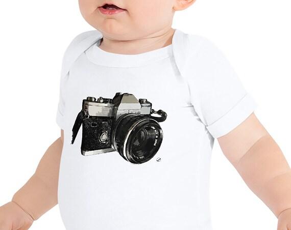 Vintage Camera Baby Bodysuit | Film Camera Infant Bodysuit Photographer Baby Outfit Photography Baby Shower Gift 35mm Gift Baby Shower Gift