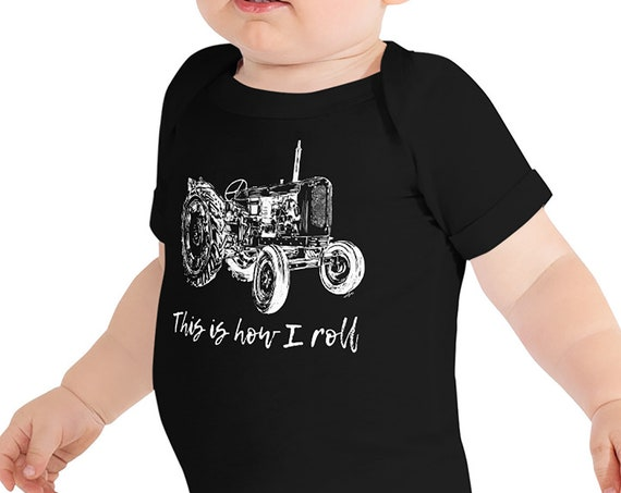 This is How I Roll Tractor Infant Bodysuit | Farm Life Baby Bodysuit | Farm Baby | Tractor Gift This is How I Roll Outfit Farmer Baby Gift