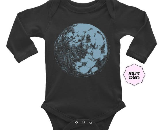 Blue Moon Science & Space Long Sleeve Baby Bodysuit Science Infant Bodysuit Space Baby Moon Baby Moon Long Sleeve Baby Bodysuit Galaxy Baby