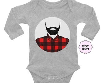 Lumberjack Long Sleeve Baby Bodysuit Baby Shower Present Beard Infant Bodysuit Bearded Baby Flannel Beard Fathers Day Dad Life Birthday Gift