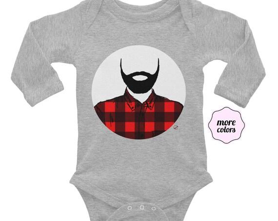 Lumberjack Long Sleeve Baby Bodysuit Baby Shower Present Beard Infant Bodysuit Bearded Baby Flannel Beard Fathers Day Dad Life Birthday Gift