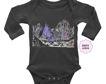 Mountains Long Sleeve Baby Bodysuit | Mt Whitney Infant Bodysuit | Mount Whitney Baby | Outdoors | Outdoorsy Baby | California | Baby Outfit