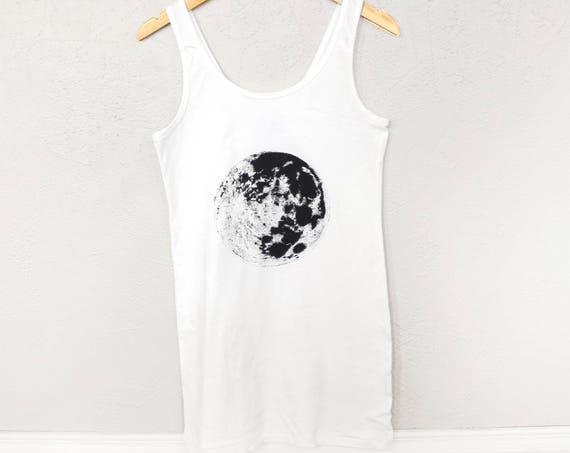 Moon Space & Science Jersey Tank Dress | Moon Dress | Space Dress | Science Dress | Galaxy Dress | Full Moon Dress | Light | Tank Top Dress