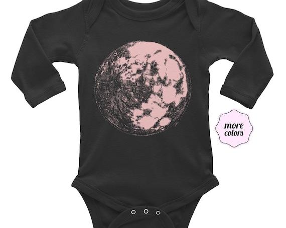 Pink Moon - Science & Space Long Sleeve Baby Bodysuit | Science Infant Bodysuit | Space Baby Moon Baby Moon Long Sleeve Bodysuit Galaxy Baby