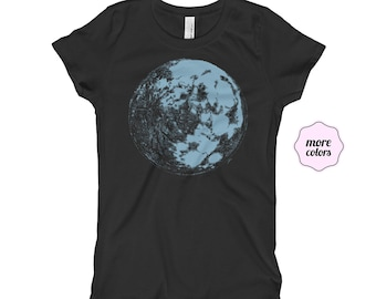 Blue Moon Girl's Princess T-Shirt | Moon Little Girl's T-Shirt | Space Kid's Shirt | Science Kid's Shirt | Full Moon Tee | Galaxy Shirt