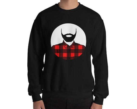 Lumberjack Crewneck Sweater Adult Unisex | Beard Sweater | Father's Day Gift | Beard Sweatshirt | Lumberjack Sweater | Flannel | Mountains