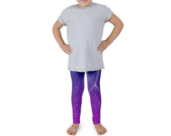 Lightning Kid's Leggings | Storm Kid's Leggings | Space Girl's Leggings | Galaxy Little Girl's Leggings | Pink | Blue | Stars Kid's Leggings