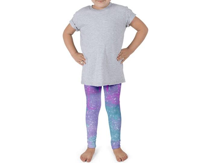 Night Sky Kid's Leggings | Space Kid's Leggings | Galaxy Girl's Leggings | Teal Pink Leggings | Stars Little Girl's Leggings | Sky Leggings
