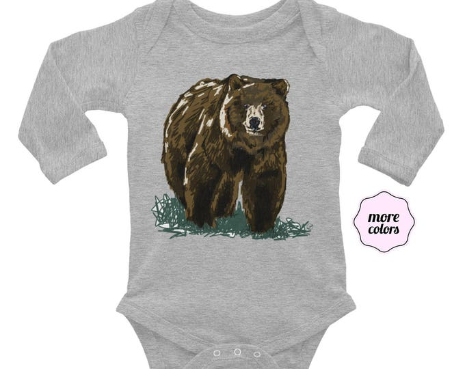Grizzly Long Sleeve Baby Bodysuit | Bear Infant Bodysuit | Bear Long sleeve Outfit Grizzly Baby Gift Outdoorsy Baby Grizzly Bear Baby Outfit