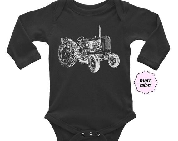 Tractor Long Sleeve Baby Bodysuit | Farm Life Infant Bodysuit | Dad Gift | Tractor Baby Clothes | Tractor Life | Dad Life Farmer Baby Shirt