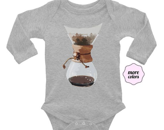 Pour Over Long Sleeve Baby Bodysuit | Coffee Lover Infant Bodysuit | Coffee Life Baby Bodysuit | Barista Baby Coffee Snob Baby Shower Gift