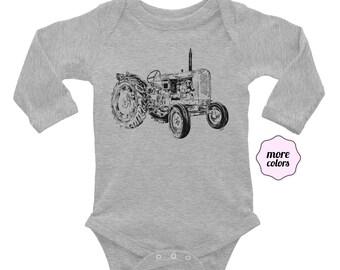 Tractor Long Sleeve Baby Bodysuit | Farm Life Infant Bodysuit | Dad Gift | Tractor Baby Outfit | Tractor Life Dad Life Mom Life Farmer Baby
