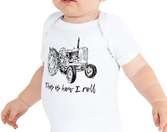 This is How I Roll Tractor Infant Bodysuit Farm Life Baby Bodysuit Farm Baby Tractor Gift This is How I Roll Baby Gift Farmer Baby Shower