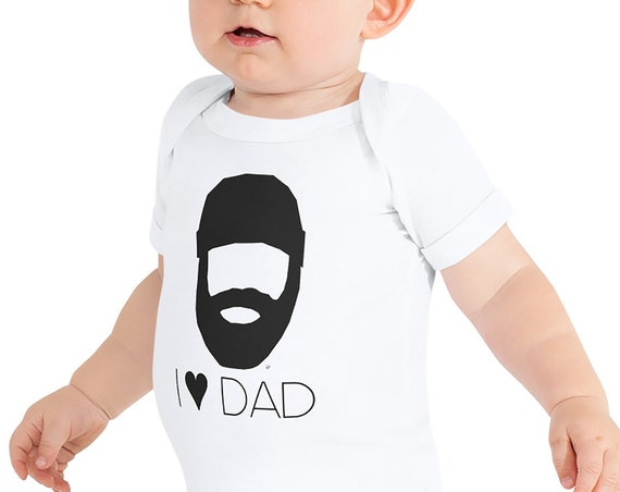 Bearded Lumberjack Dad I Heart Dad / I Love Dad Short-Sleeve Baby Bodysuit Beard Dad Gift Bearded Baby Clothes Beard Gift Daddy Father Gift