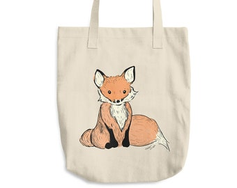 Fox Cotton Tote Bag | Fox Bag | Valentine's Day Gift | Gift Woodland Creature Bag Woodland Bag Woodland Animal Bag Birthday Gift Fox Nursery