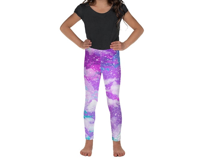 Cotton Candy Sky Kid's Leggings | Cloud Kid's Leggings | Galaxy Girl's Leggings | Space Little Girl's Leggings | Stars Kid's Leggings | Pink