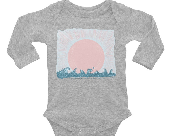 Sail on Distant Seas Long Sleeve Baby Bodysuit | Waves Infant Bodysuit Beach Baby Sailing Baby Gift Vacation Baby Outfit Summer Baby Outfit