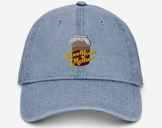 Featured listing image: Love Your Mother Kombucha Embroidered Denim Hat | Fermentation Gift