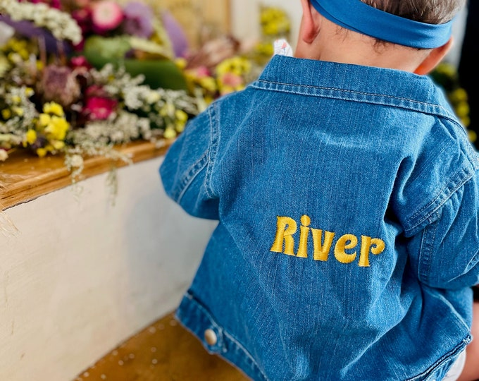 Featured listing image: CUSTOMIZED with Name Embroidered on Baby Organic Denim Jacket