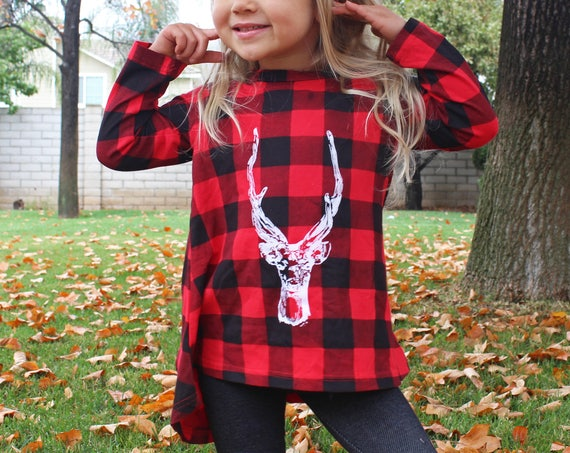 Deer Kid's Flannel Dress Toddler Plaid Dress Antlers Dress Antlers Kid's Dress Kid's Fall Fashion buffalo plaid 90s flannel birthday gift