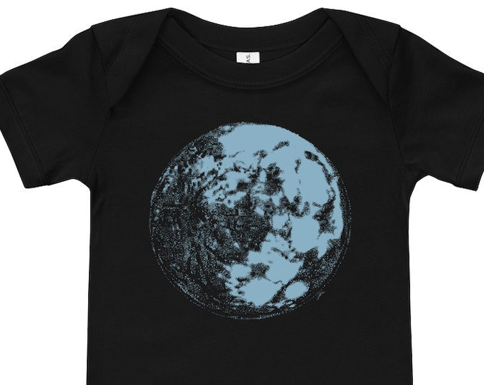 Blue Moon Space & Science Short-Sleeve Baby Bodysuit | Science Baby | Space Baby Moon Baby Galaxy Baby Full Moon Infant Bodysuit Moon Light