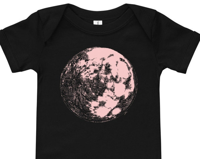 Millennial Pink Moon Space & Science Short-Sleeve Baby Bodysuit | Science Infant Bodysuit Space Baby | Moon Baby | Galaxy Baby | Full Moon
