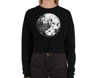 Moon Crop Sweatshirt Full Moon Crop Sweater Moon Crop Sweatshirt Moon Hoodie Moon Sweater Science Sweater Space Hoodie Galaxy Halloween Gift