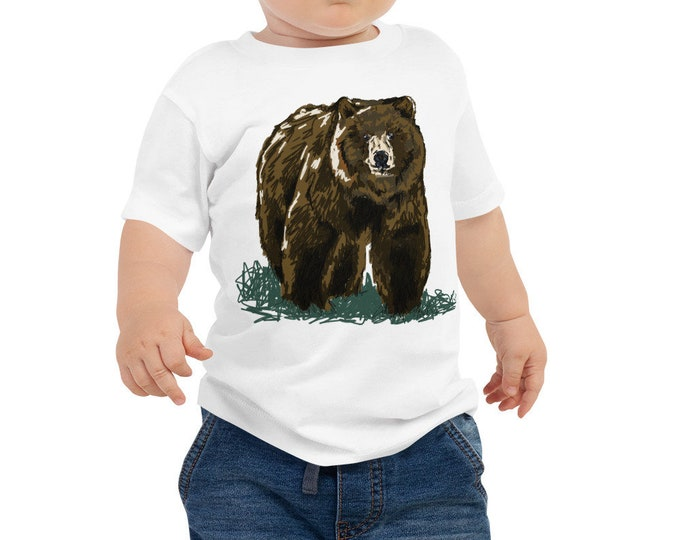 Grizzly Baby Jersey Short Sleeve Tee 6M-24M | Bear Shirt Bear Kid T-Shirt Grizzly Shirt Woodland Animal Outdoors Woodsy California bear