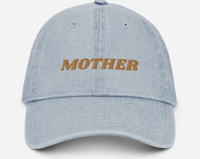 Featured listing image: MOTHER Embroidered Denim Hat for Mother's Day Gift