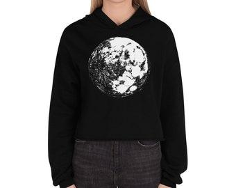 Moon Crop Hoodie | Full Moon Crop Sweater Moon Crop Sweatshirt Moon Hoodie Moon Sweater Science Sweater Space Hoodie Galaxy Halloween Gift