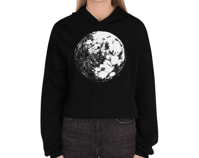 Moon Crop Hoodie   Full Moon Crop Sweater Moon Crop Sweatshirt Moon Hoodie Moon Sweater Science Sweater Space Hoodie Galaxy Halloween Gift
