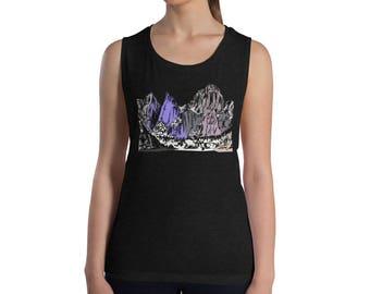 Mount Whitney Mountain Ladies' Muscle Tank | Mountain Shirt | Mountain T-Shirt | Mountain Tank Top | Mount Whitney Shirt | Mt Whitney Shirt