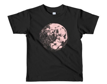 Pink Moon Short sleeve kids t-shirt 2yrs-6yrs | Moon Kid's Shirt | Space Kids Shirt | Galaxy Kid's Shirt | Science Kid's Shirt | Full Moon