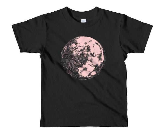 Pink Moon Short sleeve kids t-shirt 2yrs-6yrs | Moon Kid's Shirt | Space Kids Shirt | Galaxy Kid's Shirt | Science Kid's Shirt | Full Moon
