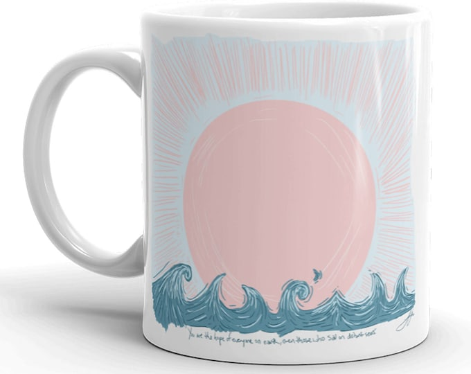 Sail Distant Seas Mug | Sailing Coffee Mug | Trendy Coffee Mug | Sail Coffee Mug | Beach Coffee Mug | Waves Coffee Mug | Sea | Sailing Ocean